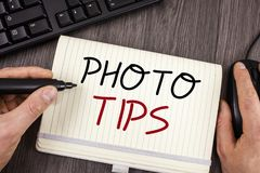 Word writing text Photo Tips. Business concept for Suggestions to take good pictures Advices for great photosgraphy. Words writing texts Photo Tips. Business stock photography