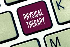 Word writing text Physical Therapy. Business concept for Treatment or analysisaging physical disability Physiotherapy stock photos
