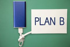 Word writing text Plan B. Business concept for ones Backup plan or strategy detailed proposal for doing something royalty free stock image