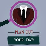 Word writing text Plan Out Your Day. Business concept for Make an schedule of activities to do everyday be organized. Magnifying Glass photo Enlarging stock illustration