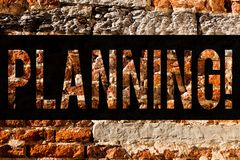 Word writing text Planning. Business concept for Defining strategies for achieving a goal Process of making plans Brick Wall art stock photo