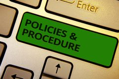 Word writing text Policies and Procedure. Business concept for list of rules defines customer and buyer rights Computer learn soft. Ware program keyboard button Stock Images