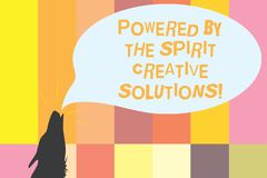 Word writing text Powered By The Spirit Creative Solutions. Business concept for Powerful new alternatives ideas Contour shape of royalty free illustration