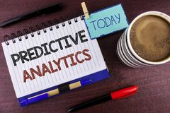 Word writing text Predictive Analytics. Business concept for Method to forecast Performance Statistical Analysis written on Notepa. Word writing text Predictive Royalty Free Stock Photo
