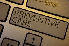 Word writing text Preventive Care. Business concept for Health Prevention Diagnosis Tests Medical Consultation Keyboard brown key. Black letters words Intention Royalty Free Stock Images
