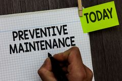 Word writing text Preventive Maintenance. Business concept for Avoid Breakdown done while machine still working Man