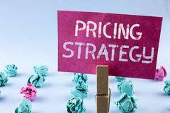 Word writing text Pricing Strategy. Business concept for Marketing sales strategies profit promotion campaign written on Pink Stic. Word writing text Pricing Royalty Free Stock Photos