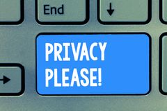 Word writing text Privacy Please. Business concept for asking someone to respect your personal space Leave alone.  royalty free stock photos