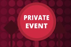 Word writing text Private Event. Business concept for Exclusive Reservations RSVP Invitational Seated stock image