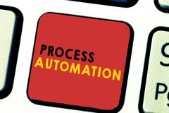 Word writing text Process Automation. Business concept for Transformation Streamlined Robotic To avoid Redundancy royalty free stock photos
