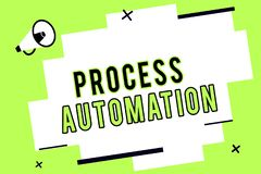 Word writing text Process Automation. Business concept for Transformation Streamlined Robotic To avoid Redundancy royalty free illustration