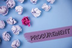 Word writing text Procurement. Business concept for Obtaining Procuring Something Purchase of equipment and supplies written on th. Word writing text Procurement Royalty Free Stock Photo
