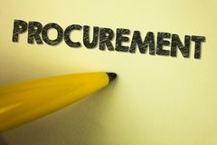 Word writing text Procurement. Business concept for Obtaining Procuring Something Purchase of equipment and supplies written on pl. Word writing text Procurement Stock Images
