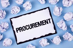 Word writing text Procurement. Business concept for Obtaining Procuring Something Purchase of equipment and supplies written on Wh. Word writing text Procurement royalty free stock photo