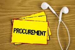 Word writing text Procurement. Business concept for Obtaining Procuring Something Purchase of equipment and supplies written on Ye. Word writing text Procurement Royalty Free Stock Photography