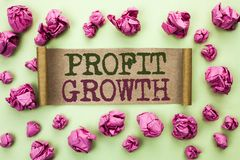 Word writing text Profit Growth. Business concept for Financial Success Increased Revenues Evolution Development written on Cardbo. Word writing text Profit Royalty Free Stock Photos