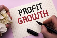 Word writing text Profit Growth. Business concept for Financial Success Increased Revenues Evolution Development written by Man on. Word writing text Profit Royalty Free Stock Photography