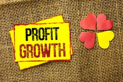 Word writing text Profit Growth. Business concept for Financial Success Increased Revenues Evolution Development written on Sticky. Word writing text Profit Stock Images