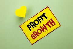 Word writing text Profit Growth. Business concept for Financial Success Increased Revenues Evolution Development written on Yellow. Word writing text Profit Royalty Free Stock Photography
