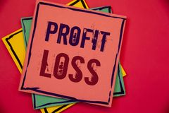 Word writing text Profit Loss. Business concept for Financial year end account contains total revenues and expensesPink blue yello. Words writing texts Profit stock photography