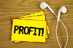 Word writing text Profit Motivational Call. Business concept for Earned Money Payment Salary Business Revenue written on Yellow St. Word writing text Profit Royalty Free Stock Image