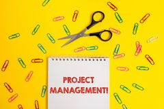 Word writing text Project Management. Business concept for Application Process Skills to Achieve Objectives and Goal. Word writing text Project Management stock photos