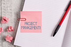 Word writing text Project Management. Business concept for Application Process Skills to Achieve Objectives and Goal. Word writing text Project Management stock photography