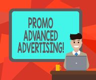 Word writing text Promo Advanced Advertising. Business concept for inform target audiences the merits of a product Blank. Bordered Board behind Man Sitting stock illustration