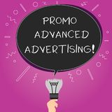 Word writing text Promo Advanced Advertising. Business concept for inform target audiences the merits of a product Blank. Oval Color Speech Bubble Above a stock illustration