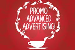 Word writing text Promo Advanced Advertising. Business concept for inform target audiences the merits of a product Cup. And Saucer with Paisley Design as Steam stock illustration