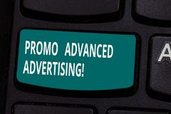 Word writing text Promo Advanced Advertising. Business concept for inform target audiences the merits of a product. Keyboard key Intention to create computer royalty free stock photography