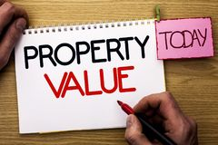 Word writing text Property Value. Business concept for Estimate of Worth Real Estate Residential Valuation written by Man on Noteb. Word writing text Property royalty free stock images