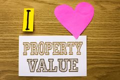 Word writing text Property Value. Business concept for Estimate of Worth Real Estate Residential Valuation written on Sticky Note. Word writing text Property stock photos