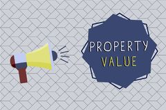 Word writing text Property Value. Business concept for Worth of a land Real estate appraisal Fair market price.  royalty free illustration