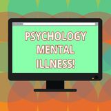 Word writing text Psychology Mental Illness. Business concept for Psychiatric disorder Mental health condition Blank. Computer Desktop Monitor Color Screen vector illustration