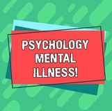 Word writing text Psychology Mental Illness. Business concept for Psychiatric disorder Mental health condition Pile of. Blank Rectangular Outlined Different royalty free illustration