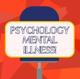 Word writing text Psychology Mental Illness. Business concept for Psychiatric disorder Mental health condition Blank Rectangular. Shape Sticker Sitting royalty free illustration