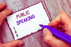 Word writing text Public Speaking. Business concept for talking people stage in subject Conference Presentation.  royalty free stock photography
