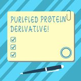 Word writing text Purified Protein Derivative. Business concept for the extract of Mycobacterium tuberculosis Blank Square Color. Board with Magnet Click vector illustration