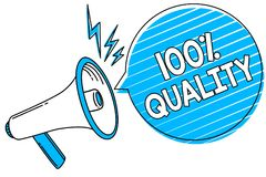 Word writing text 100 Quality. Business concept for Guaranteed pure and no harmful chemicals Top Excellence Megaphone loudspeaker. Blue speech bubble stripes royalty free illustration