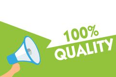 Word writing text 100 Quality. Business concept for Guaranteed pure and no harmful chemicals Top Excellence Megaphone loudspeaker. Speech bubbles important vector illustration