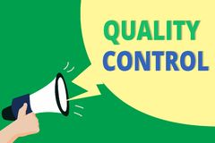 Word writing text Quality Control. Business concept for insure that product or service sold due to standards.  vector illustration