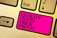 Word writing text Quality Costs Price Profit. Business concept for Balance between wothiness earnings value Bright golden computer royalty free stock images