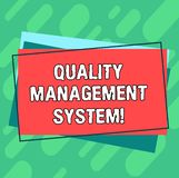 Word writing text Quality Management System. Business concept for formalized system that documents processes Pile of Blank. Rectangular Outlined Different Color royalty free illustration