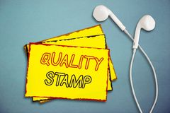 Word writing text Quality Stamp. Business concept for Seal of Approval Good Impression Qualified Passed Inspection.  royalty free stock photo