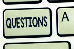 Word writing text Questions. Business concept for Interrogative expression Requesting answers Asking for solutions.  stock image