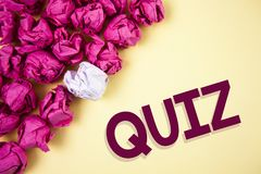 Word writing text Quiz. Business concept for Short Tests Evaluation Examination to quantify your knowledge written on Plain backgr. Word writing text Quiz Royalty Free Stock Photo