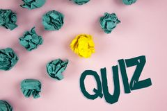 Word writing text Quiz. Business concept for Short Tests Evaluation Examination to quantify your knowledge written on plain Pink b. Word writing text Quiz Royalty Free Stock Images