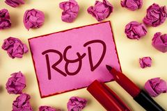 Word writing text R D. Business concept for Research and Development Scientific Investigations Innovations written on Pink Sticky. Word writing text R D Stock Photos