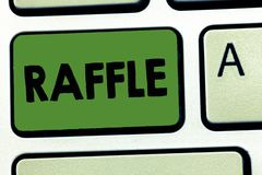 Word writing text Raffle. Business concept for means of raising money by selling numbered tickets offer as prize.  royalty free stock photo